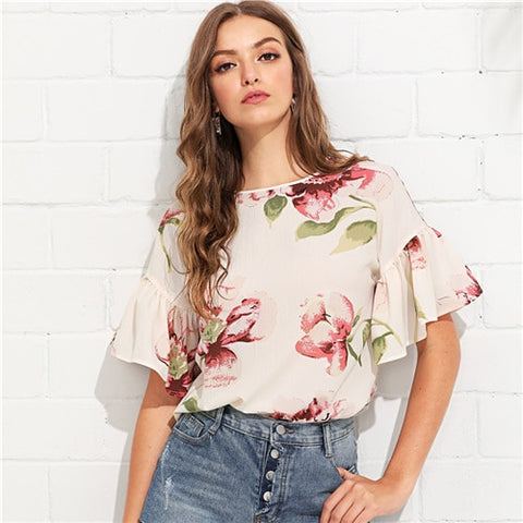 Multicolor Vacation Bohemian Beach Floral Print Flounce Ruffle Sleeve Keyhole Back Floral Blouse Women Casual Shirt Top