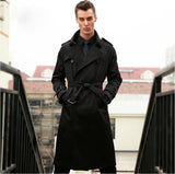 London Men's clothing casual long trench Outfit design spring autumn turn-down collar long trench Coat outerwear Abrigos largos