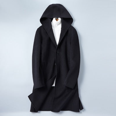 New Double-faced Woolen Coats Men's Cashmere Overcoat Autumn Winter Casual Wool Fabric Men Dress Hooded Jackets Plus Size