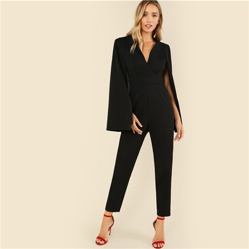 Black Party Elegant Wrap Plunging V Neck Cloak Long Sleeve Solid High Waist Maxi Jumpsuit Autumn Women Casual Jumpsuit