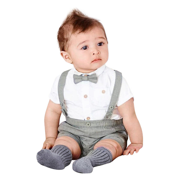 Children clothing Kids Baby Boys Summer Gentleman Bowtie Short Sleeve Shirt+Suspenders Shorts Set Children Summer #25