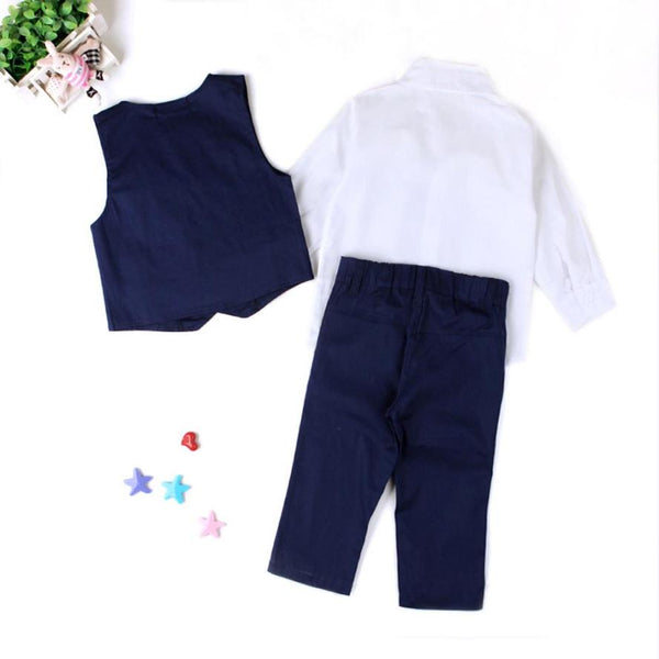 New Summer Children Baby Boys Gentleman Wedding Suits Shirts+Waistcoat+Long Pants+Tie Clothes 1Set omfortable Touch Quality