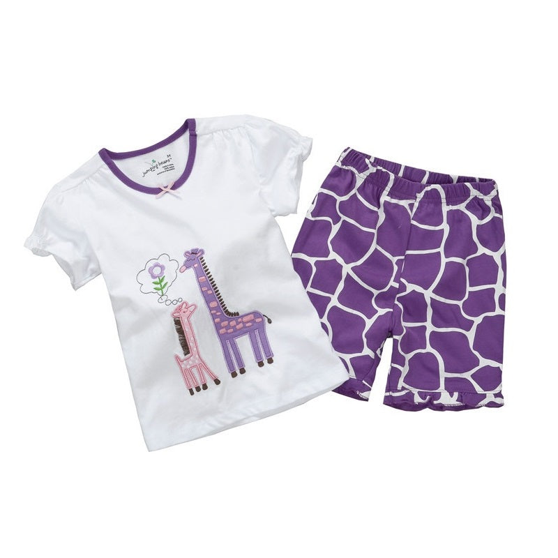 Summer Baby Girls Clothes Suit Giraffe Embroidery Children's Outfits Short Sleeve T-Shirts Kids Clothing Jumpsuits