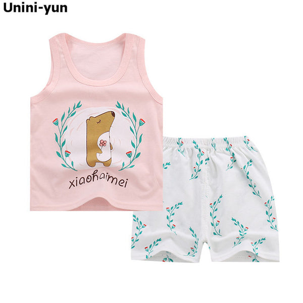 Kids Baby Girls Toddler T-shirt Tank Tops and Skirt Shorts Set Outfits Clothes roupas infantis menina boys clothes