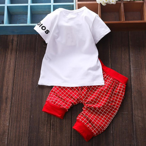 Boys&Girls Unisex Sets 3Color Summer Cotton Clothing Short Sleeve Letter Tops&Plaid Pants for Active Kids 2pc Sets