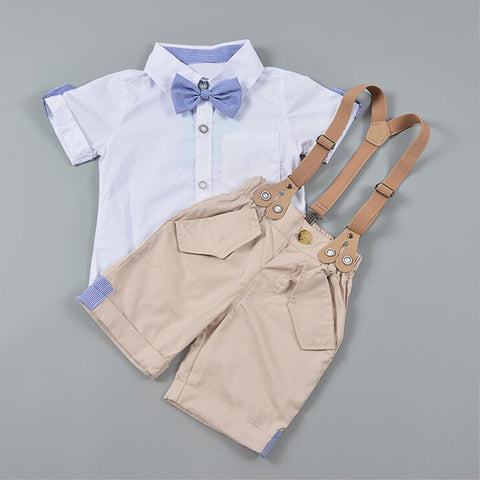 24b6ac9217f31 Summer Baby Boys Suit Kids Boys Clothes Set for Wedding Party Infant Baby  Costumes Cotton Short