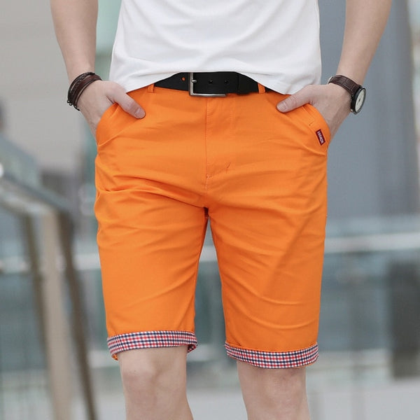 Summer Casual Shorts Men Plaid Hem Cotton Short Pants Fashion Streetwear Shorts Bermuda Homme Short Pantalon Court Plus Size Men