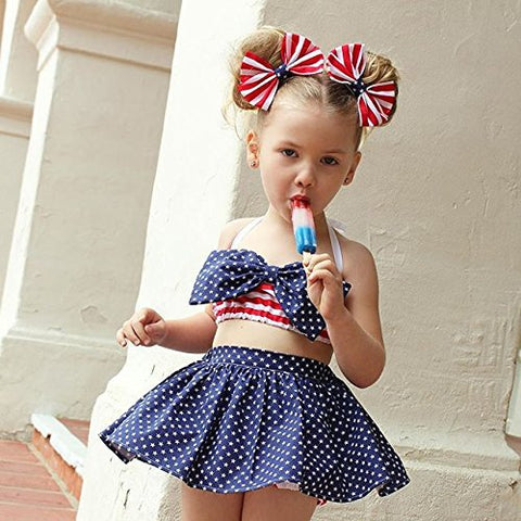 4th of July Newborn Baby Girls Skirt Sets Stripe Halter Tops + Star Skirts Toddler Outfits Fourth of July Children Clothes 4pcs