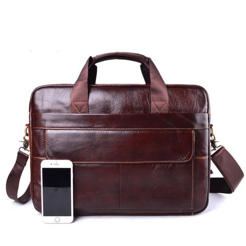 Genuine Leather Men's Briefcases men's leather bags Laptop bag 14 inch business Handbags Shoulder Bags Crossbody Bag