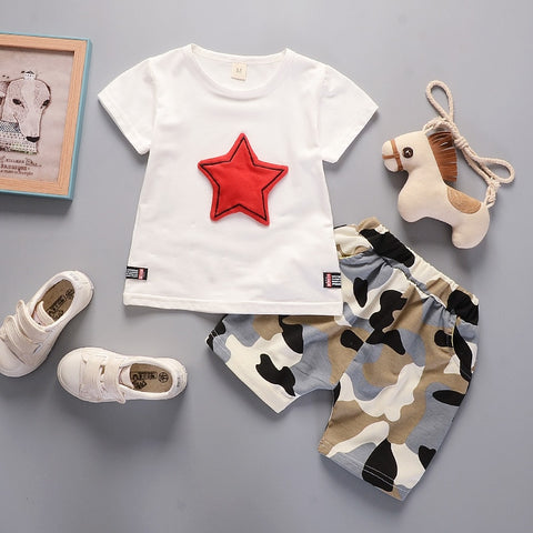 Summer sets children clothing new fashion brand infant cotton suits casual star boys solid t shirt+Camo shorts 2pcs set