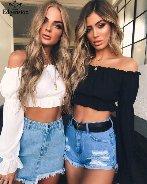 New Summer Fashion Sexy Off Shoulder Short Crop Chiffon Blouse Women Long Sleeve Slash Neck Shirts Blouses Female Tops