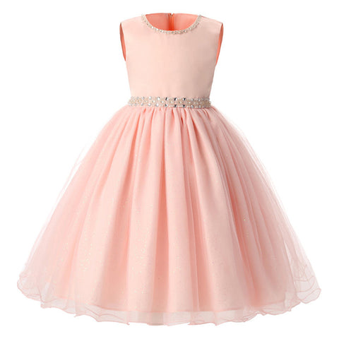 Flower Girl Dresses For Wedding Party Pink Summer Girls Dresses Formal Princess Pageant Beading Hot Sale In Stock