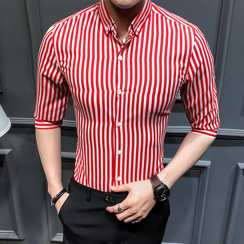 New arrival summer business casual style striped slim fit three quarter sleeve shirt men camisas para hombre DCS11