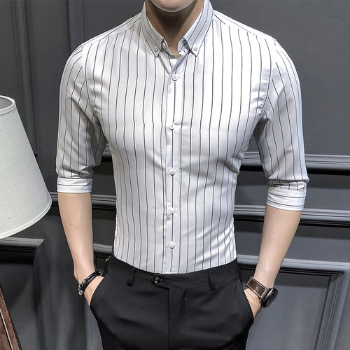 f953f4cf7dbc ... New arrival summer business casual style striped slim fit three quarter  sleeve shirt men camisas para ...