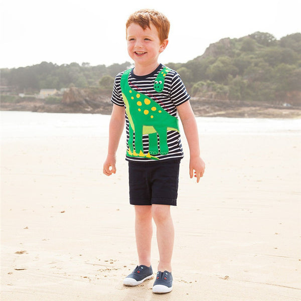 2-7T Top brand fashion applique children boys T shirts striped cotton popular summer baby clothing hot selling kids Tees tops