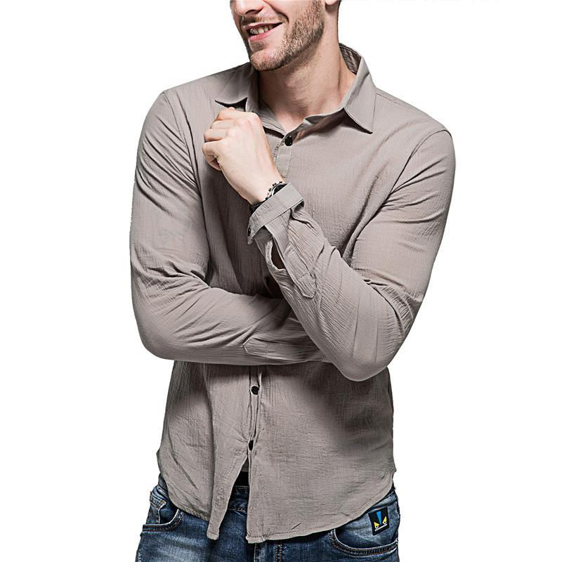 Fashion male summer high-grade linen breathable Casual long sleeve  shirts/men's pure color Cotton linen shirts XXL