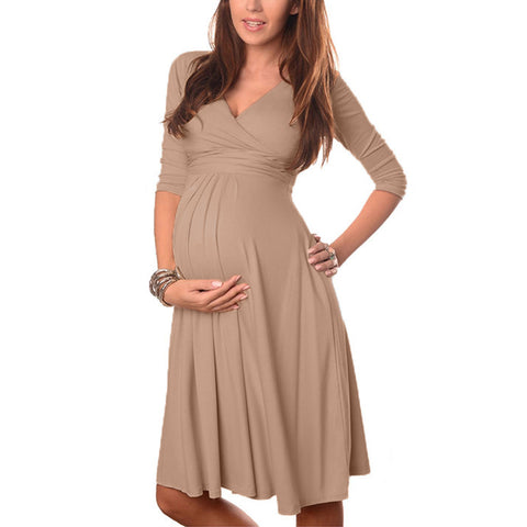 Maternity Clothes Summer Pregnant Women Dress Casual Sexy V Neck 3/4 Sleeve Solid A-line Dresses Vestidos Plus Size