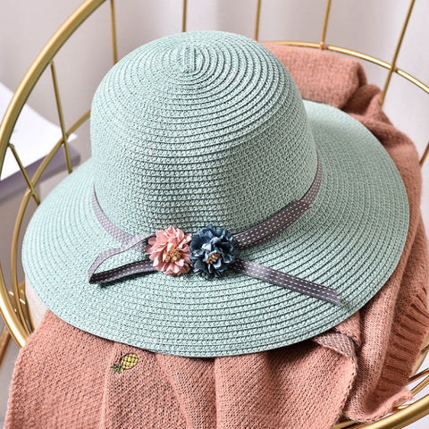 New Fashion Girls Flower Wide Brim Straw Hat Child Floppy Beach Hats Kids Panama Bucket Hats Foldable Summer Sun Hat