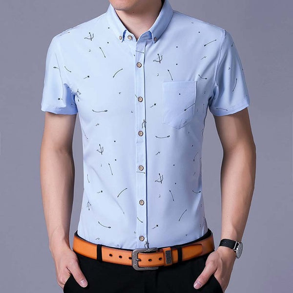short sleeve social bow and arrow men shirt dress casual slim fit summer male shirts mens fashions streetwear clothing 6287