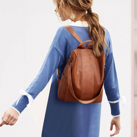 Casual Fashion Backpack Female High Quality PU Leather Backpack Women Patchwork Anti-Theft Backpacks Mochila Feminina