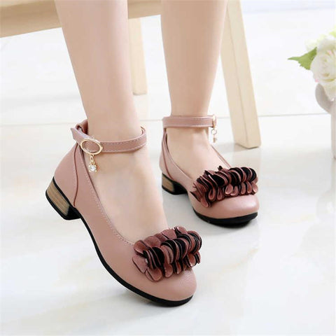 Leather Kids Wedding Shoes Princess Girl School Party Shoes Fashion Heels Girls Flowers Shoes