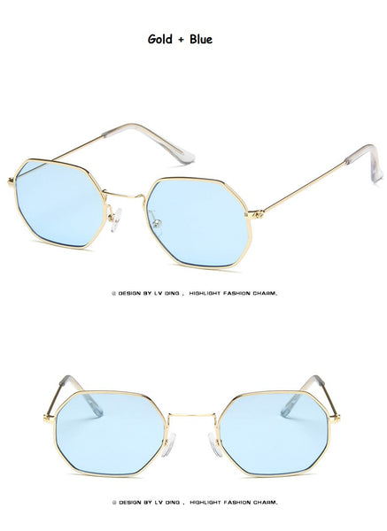 Ladies  hexagon sunglasse  metal Women Brand Designer Fashion Rimless  Clear Ocean Lenses Sun Glasses  UV400