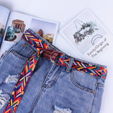 new fashion women canvas belt female metal double ring buckle waist belts Printing rope with jeans girdles gifts