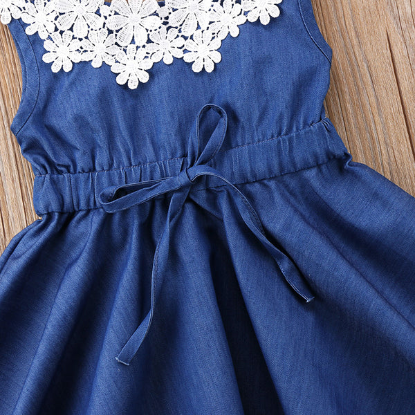new sweet summer Adorable Toddler Kids Baby Girls Lace Floral Denim Princess Party Dress Sundress lovely kid blue dresses