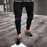 supper skinny hip hop jeans men ripped holes slim pants Homme Trousers New Arrived Fashion Ankle Zipper Skinny Jeans denim