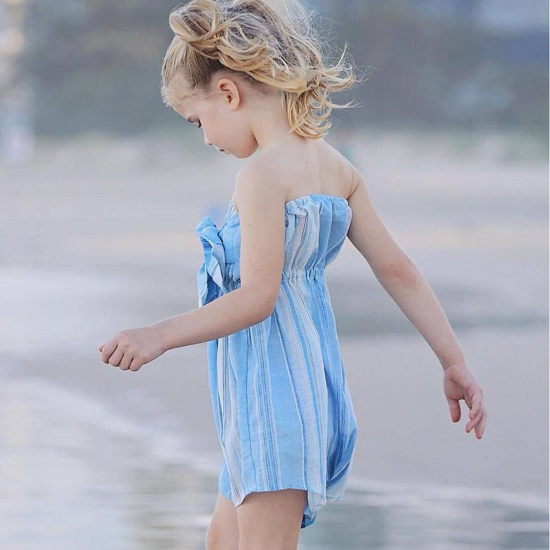 Family Matching Clothes Women Swimsuit Beach Dress Off Shoulder Stripe Bowknot Jumpsuit Mother Daughter Dresses