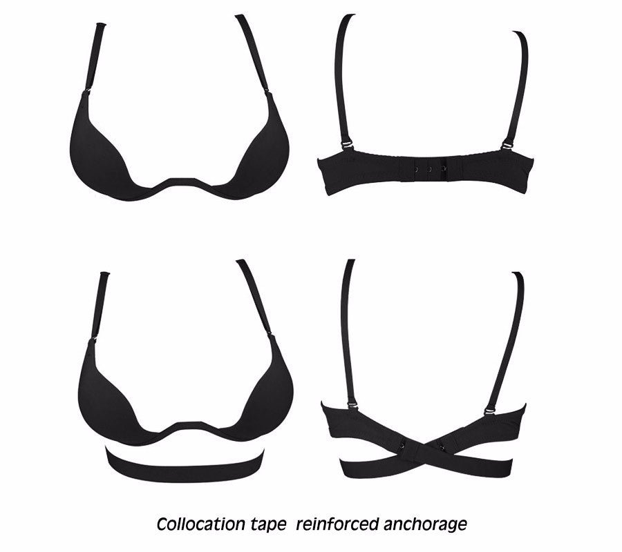 cf8c41b767cd4 ... Sexy Deep U Low Cut ECMLN Push Up Women Lingerie U Bra Backless  Underwear Plunge Sexy