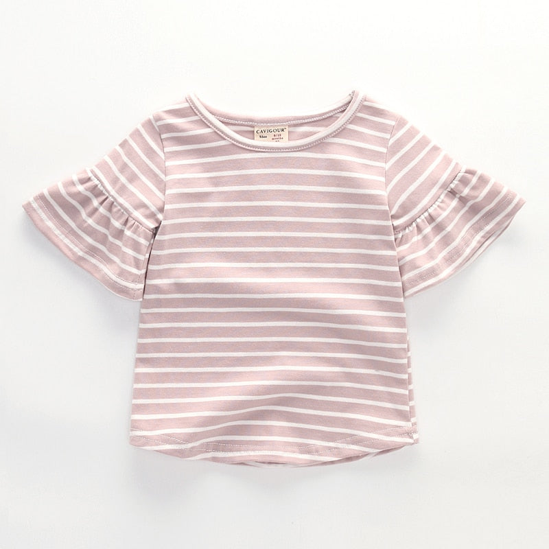 5a2df09d5 Summer cotton kids baby girls short sleeve t shirts striped tops for ...