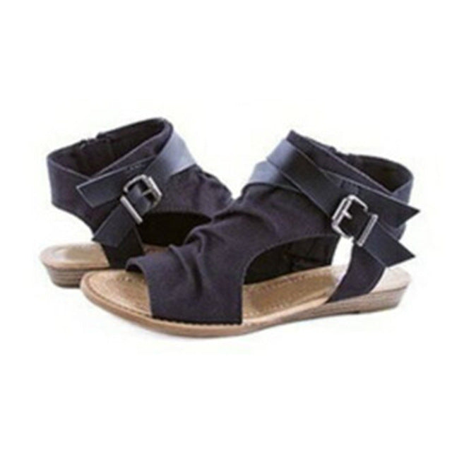 5d87c643f27695 Sandals Women Gladiator Roman Buckle Flat Sandals Footwear Women Femal