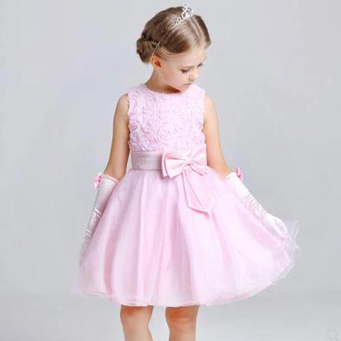 Flower Girl Dresses For Wedding Party Formal Gown For Little Baby Girl Withe Appliques Cute Bow 2018 Summer New Style