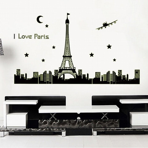 Large Noctilucent Glow in the Dark Luminous Love Paris City Eiffel Tower Vinyl Removable DIY Mural Art Wall Sticker Decal