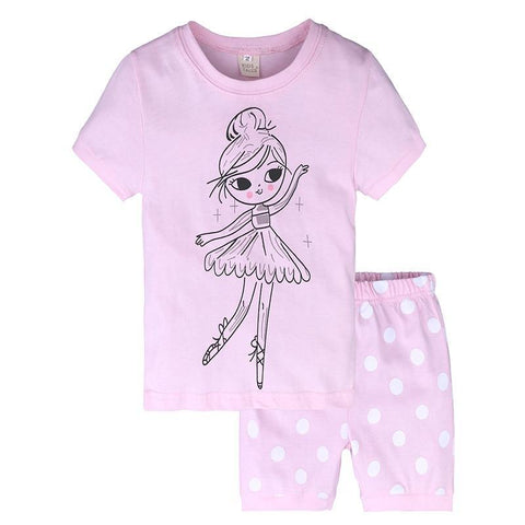 Summer Kids Pajamas Girls Set Short Sleeve T-shirt +Short Pants 2Pcs. Cotton Children Fashion Clothing Sleepwaear ST353