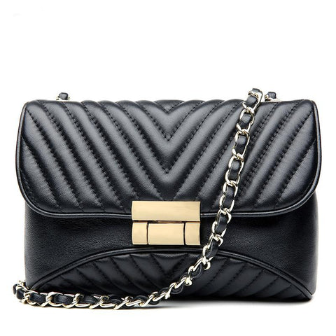 Black Quilted Leather Bag with Chain Handbag High Quality Luxury Genuine Leather Quilted Chain Crossbody Bag