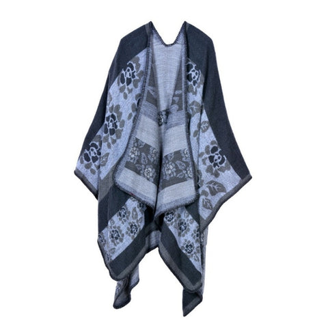 Winter Cashmere Feel Scarf Women Poncho Blanket Cape Shawls Coat