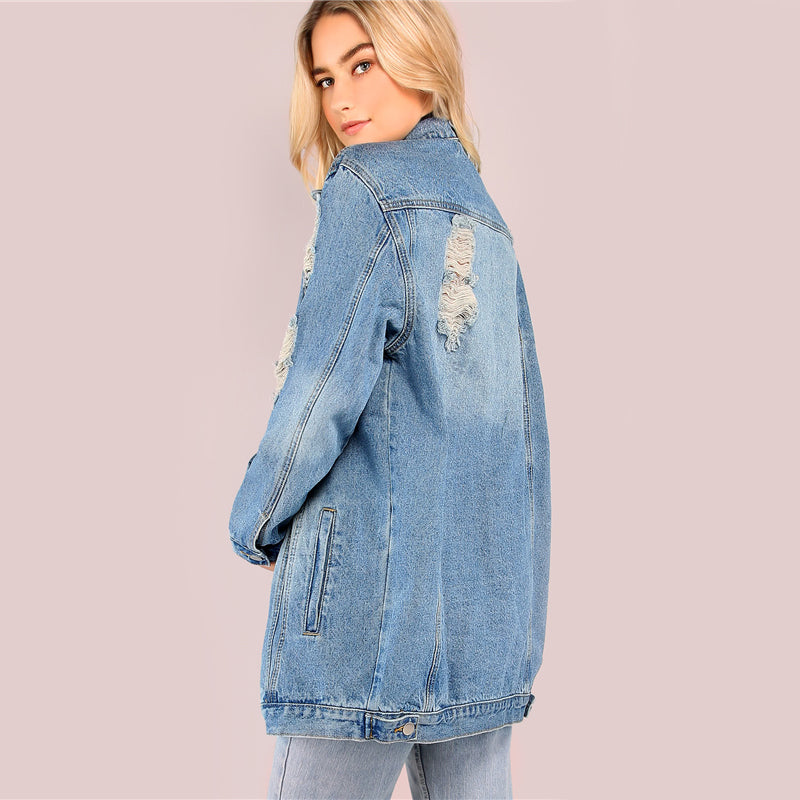 Light Mineral Washed Denim Jacket Blue Distressed Women Longline Coat Autumn Full Sleeve Casual Button Up Jacket