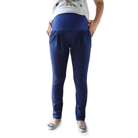 All Match All Season Navy Maternity Capris Good Quality Comfortable Cotton Casual Harlan Pants For Pregnant Women