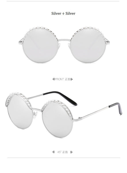 Luxury Beads Round Sunglasses Women Fashion Alloy Frame Brand Pearls Designer Sun Glasses For Female Black Shades UV400 New