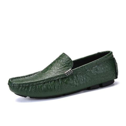 Men's Casual Shoes Luxury Crocodile Leather Italian Loafers Men Moccasins Slip on Boat Shoes Plus Size 38-47