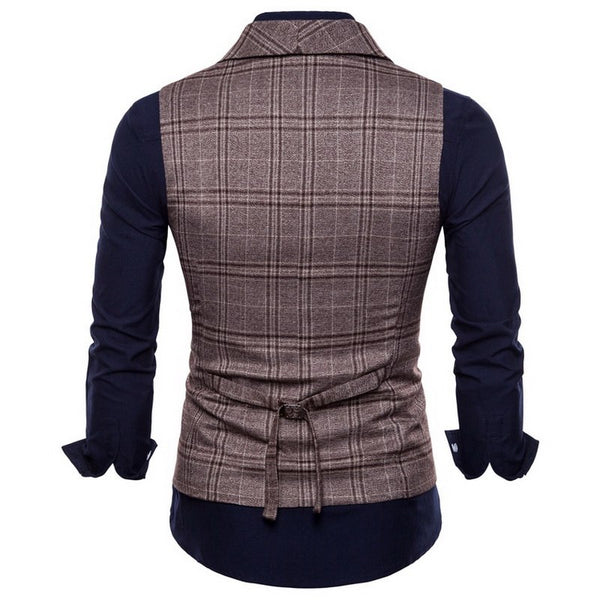 Mens Stripe Plaid Formal Blazer Vests Men Double Breasted V-neck M-4XL Male British Style Casual Dress Suit Vests