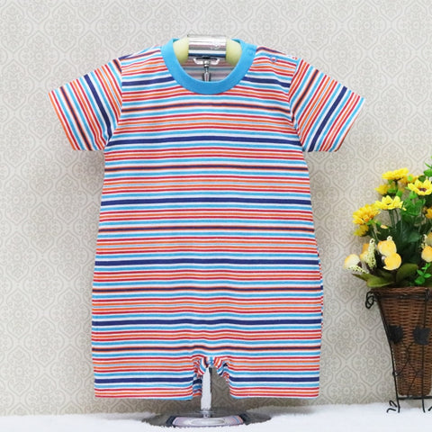 Little Q spring and summer baby pure cotton one pieces striped bodysuits short sleeve newborn clothes