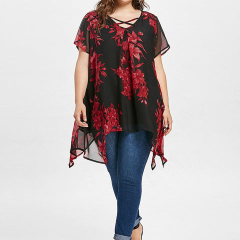 Women tops 5xl  Summer Front Criss Cross Floral Double Chiffon Blouse Short Sleeve Shirt Plus Size Blouse N30