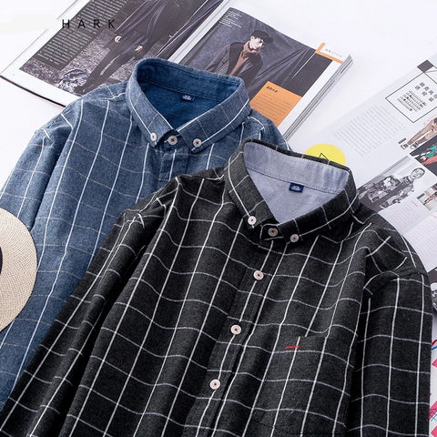 Autumn Plaid Casual Shirt Men 100% Cotton Flannel Shirts Male Long Sleeve Brand Clothing Slim Fit Mens Dress Shirts