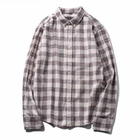 Brown Checkered Shirt Men Blouse Long Sleeve Retro Style Social Plaid Shirts High Quality 100% Cotton Casual Shirt