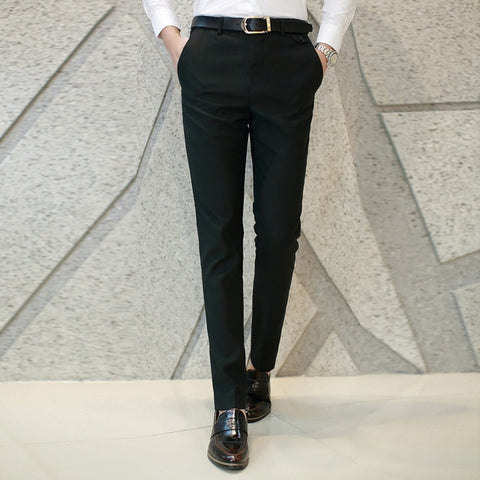 Autumn Cotton Cloth Office Workwear Gentleman Pure Color Pants Pants Men Slim Business Pants Groom Wedding Dress Pants