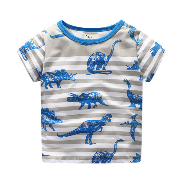 new style baby clothing t shirt cotton dinosaurs printed novelty short sleeve summer t shirt cartoon tees kids clothes tops