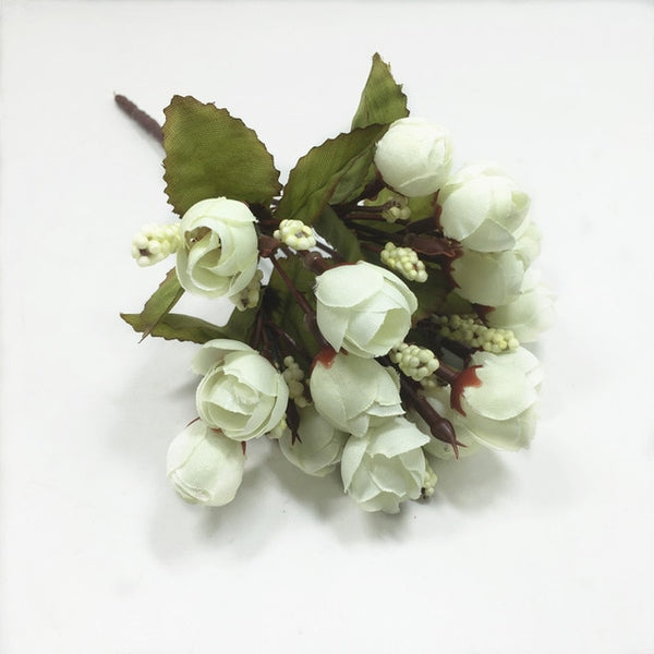 15 heads Mini Rose Colorful Silk Flowers artificial flower  Home Decor for wedding small roses bouquet decoration Display Flower